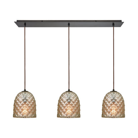 Brimley 3 Light Linear Pan Fixture In Oil Rubbed Bronze With Raised Diamond Texture Mercury Glass