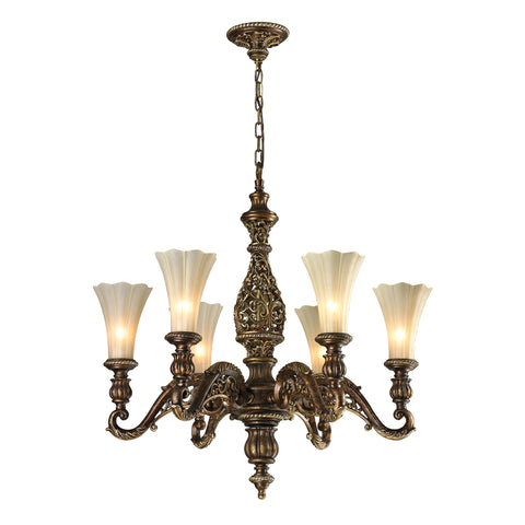 Allesandria 6 Light Chandelier In Burnt Bronze And Weathered Gold Leaf