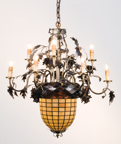 "28.5""W Greenbriar Oak 9 Arm Chandelier"