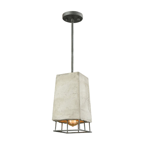 Brocca 1 Light Pendant In Silverdust Iron With Concrete Shade