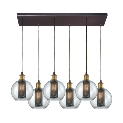 Bremington 6 Light Rectangle Pendant In Tarnished Brass/Oil Rubbed Bronze With Clear Glass And Perforated Metal Cage