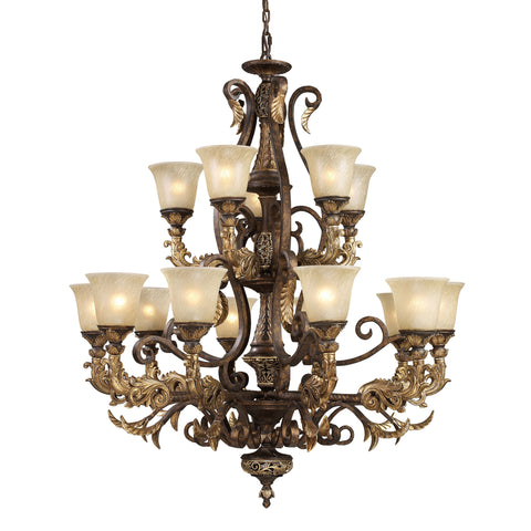 Regency 15 Light Chandelier In Burnt Bronze And Gold Leaf