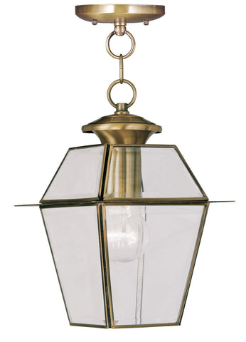 Livex Lighting 2183-01 Westover Outdoor Pendant Antique Brass