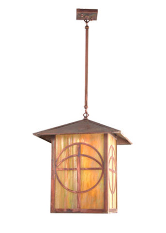 "16""Sq Seneca Circle Cross Lantern Pendant"