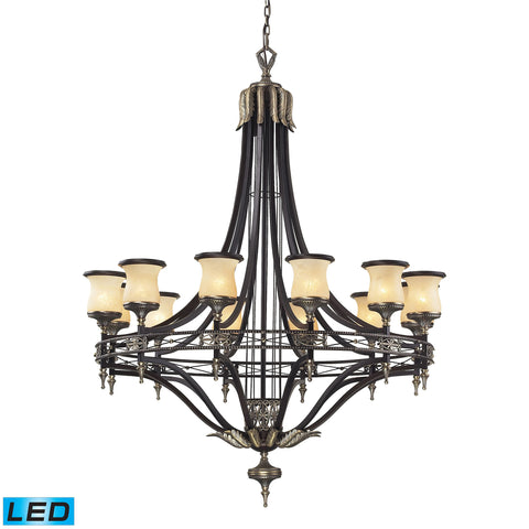 Georgian Court 12 Light LED Chandelier In Antique Bronze And Dark Umber