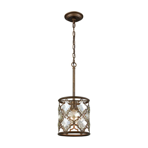 Armand 1 Light Pendant In Weathered Bronze With Champagne Plated Crystal - Includes Recessed Lighting Kit