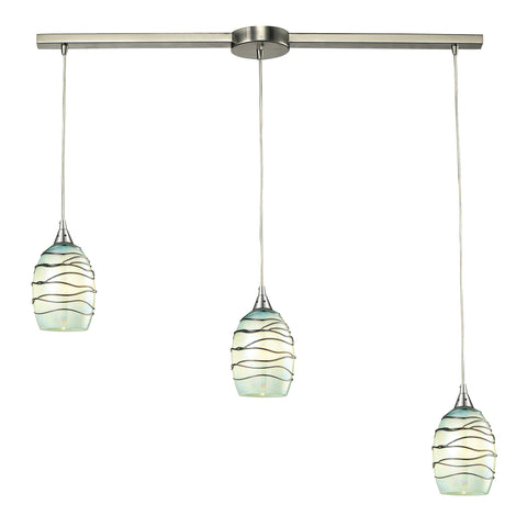 Vines 3 LED Light Pendant In Satin Nickel And Mint Glass