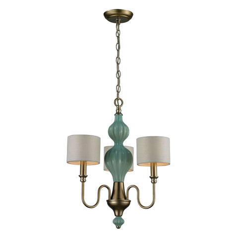 Lilliana 3 Light Chandelier In Seafoam And Aged Silver