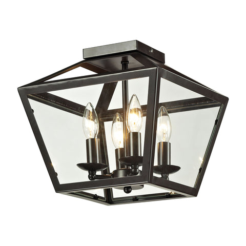 Alanna 2 Light Flush Mount In Oil Rubbed Bronze And Clear Glass