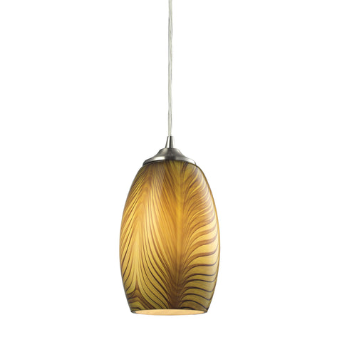 Tidewaters 1 Light Pendant In Satin Nickel And Seagrass