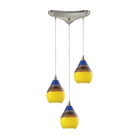 Dunes 3 Light Pendant In Satin Nickel And Sunscape Glass