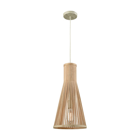 Pleasant Fields 1 Light Pendant With Russet Beige Hardware And Natural Wicker Shade - Includes Recessed Lighting Kit