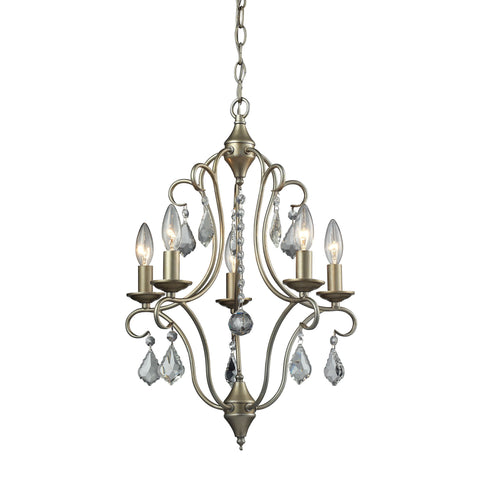 Chandette 5 Light Chandelier In Aged Silver