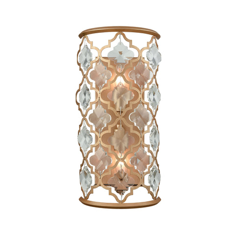 Armand 2 Light Wall Sconce In Matte Gold With Clear Crystal