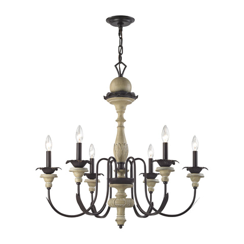 Channery Point 6 Light Chandelier In Aged Cream And Oil Rubbed Bronze
