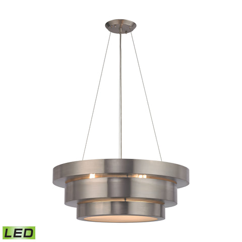 Layers 3 Light LED Chandelier In Brushed Stainless
