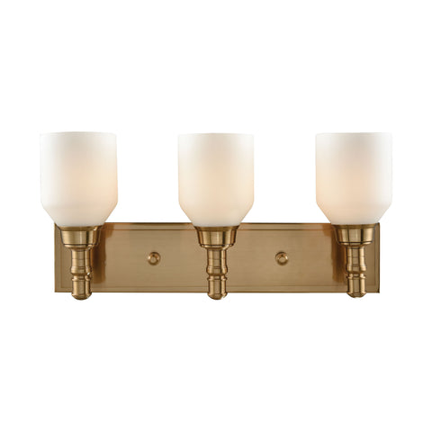 Baxter 3 Light Vanity In Satin Brass With Opal White Glass