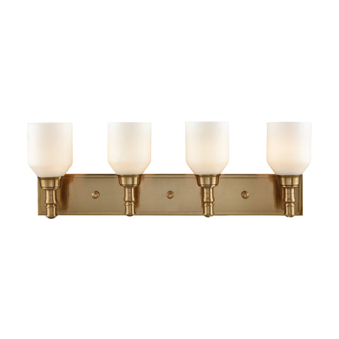 Baxter 4 Light Vanity In Satin Brass With Opal White Glass