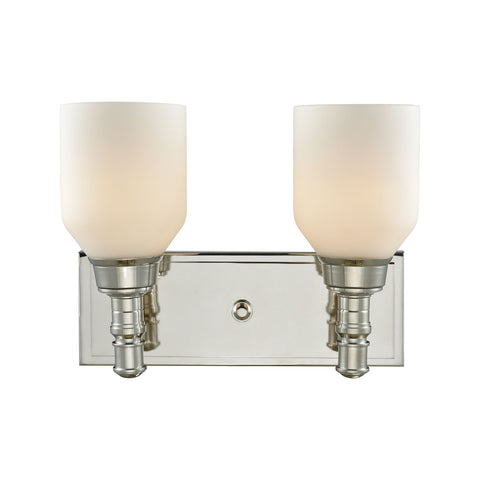 Baxter 2 Light Vanity In Polished Nickel With Opal White Glass