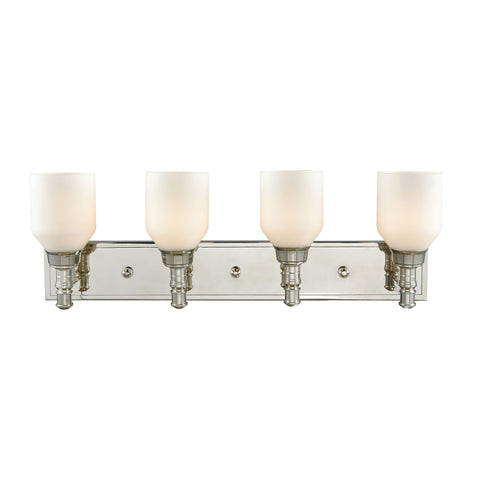 Baxter 4 Light Vanity In Polished Nickel With Opal White Glass