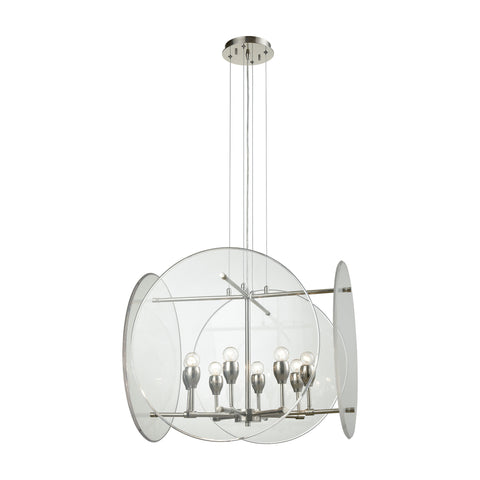 Disco 8 Light Chandelier In Polished Nickel With Clear Acrylic Panels