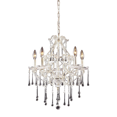 Opulence 5 Light Chandelier In Antique White And Clear Crystal
