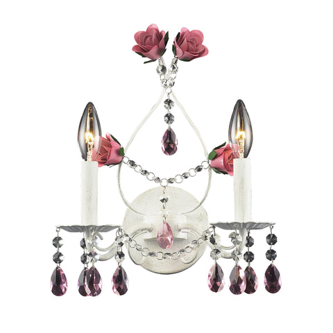 Rosavita 2 Light Wall Sconce In Antique White And Pink
