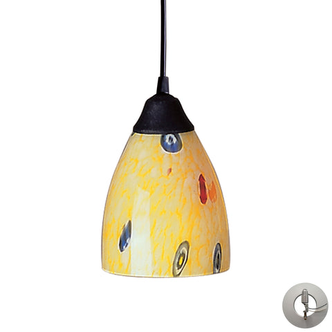 Classico 1 Light Pendant In Dark Rust And Yellow Blaze Glass - Includes Recessed Lighting Kit