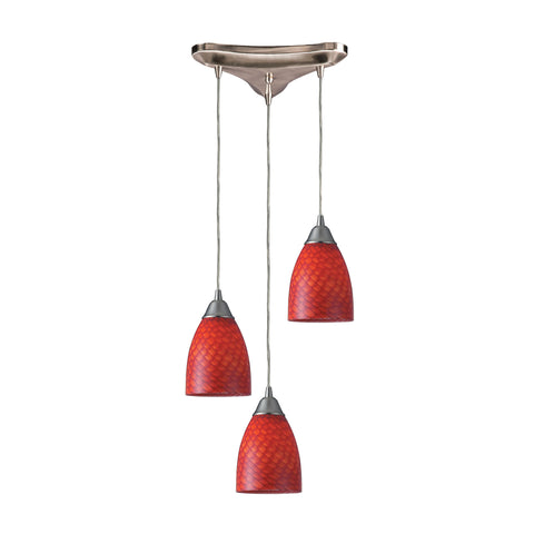 Arco Baleno 3 Light Pendant In Satin Nickel And Scarlet Red Glass