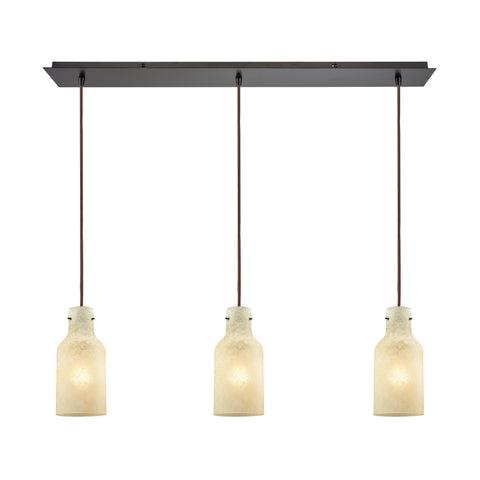 Weatherly 3 Light Linear Pan Pendant In Oil Rubbed Bronze With Chalky Beige Glass
