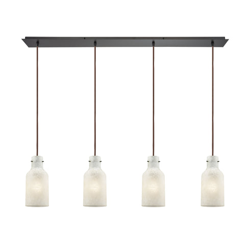 Weatherly 4 Light Linear Pan Pendant In Oil Rubbed Bronze With Chalky White Glass