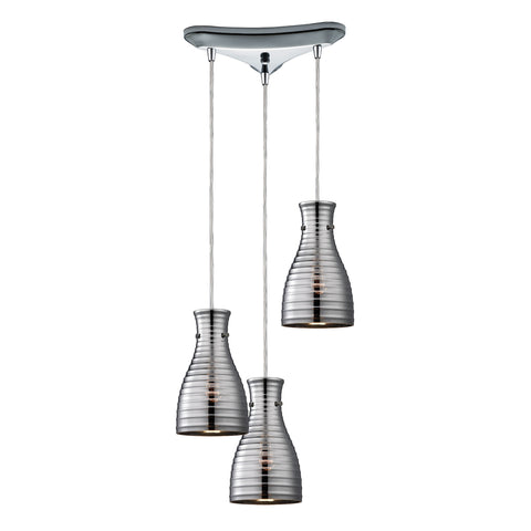 Strata 3 Light Pendant In Polished Chrome