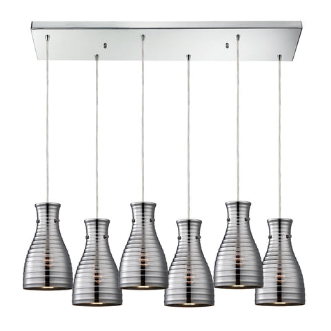 Strata 6 Light Pendant In Polished Chrome