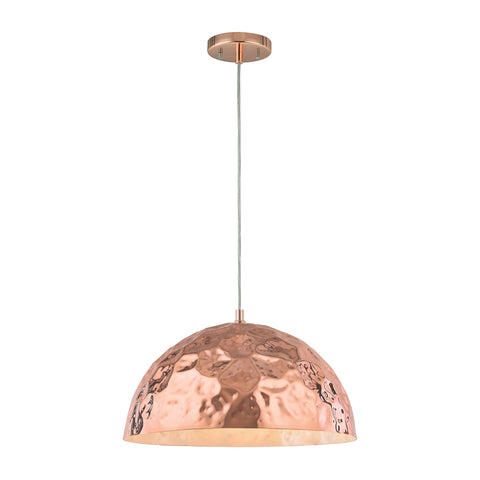 Hammersmith 1 Light Pendant In Hammered Polished Copper