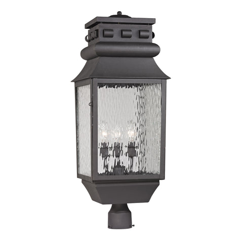 47062/3 Forged Lancaster Collection 3 Light Outdoor Post Light