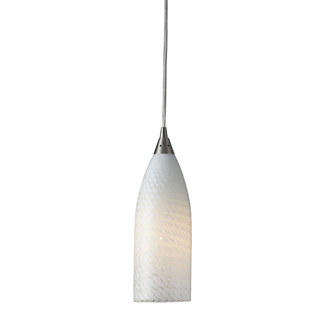 Cilindro 1 Light LED Pendant In Satin Nickel And White Swirl Glass