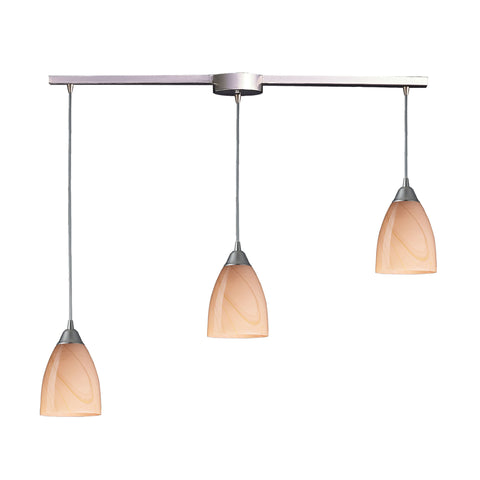 Pierra 3 Light Pendant In Satin Nickel And Sandy Glass