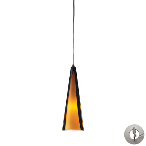 Desert Winds 1 Light Pendant In Satin Nickel And Sahara Glass - Includes Recessed Lighting Kit