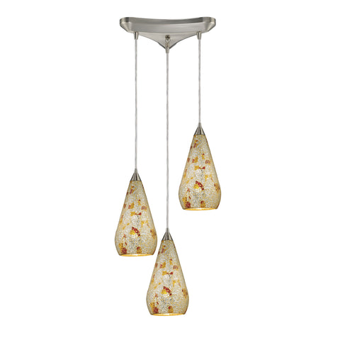 Curvalo 3 Light Pendant In Satin Nickel And Silver Multi Crackle Glass