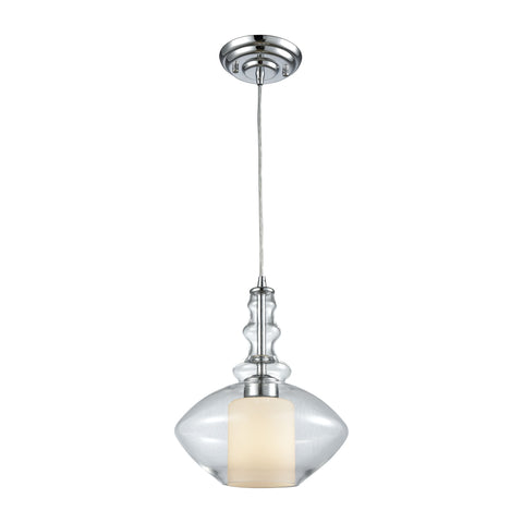 Alora 1 Light Pendant In Polished Chrome With Opal White And Clear Glass