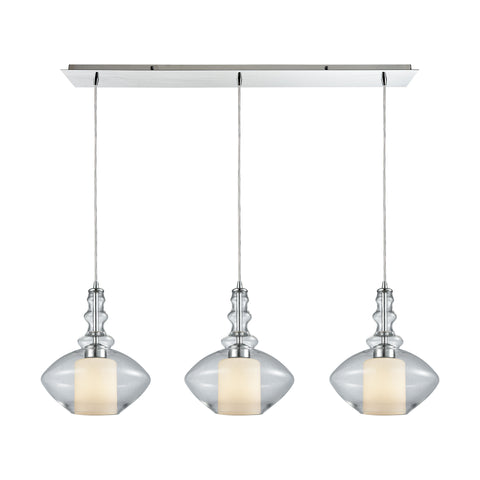Alora 3 Light Linear Pan Pendant In Polished Chrome With Opal White Glass Inside Clear Glass