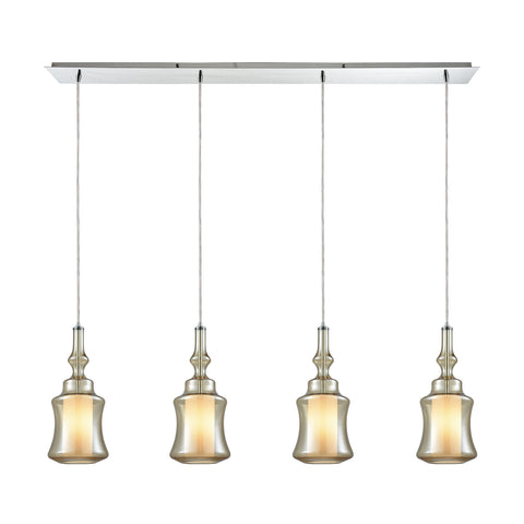 Alora 4 Light Linear Pan Pendant In Polished Chrome With Opal White Glass Inside Champagne Plated Glass
