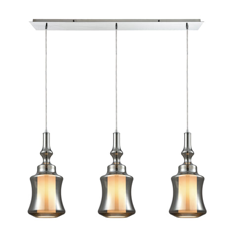 Alora 3 Light Linear Pan Pendant In Polished Chrome With Opal White Glass Inside Smoke Plated Glass
