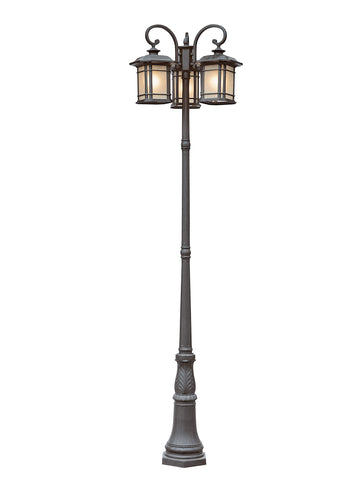 5827 BK Corner Windows 3 Lantern Lamp Post