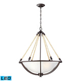 Natural Rope 4 Light LED Pendant In Aged Bronze