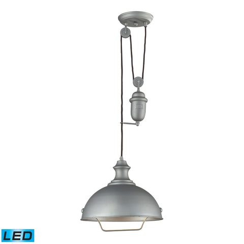 Farmhouse 1 Light Adjustable LED Pendant In Aged Pewter