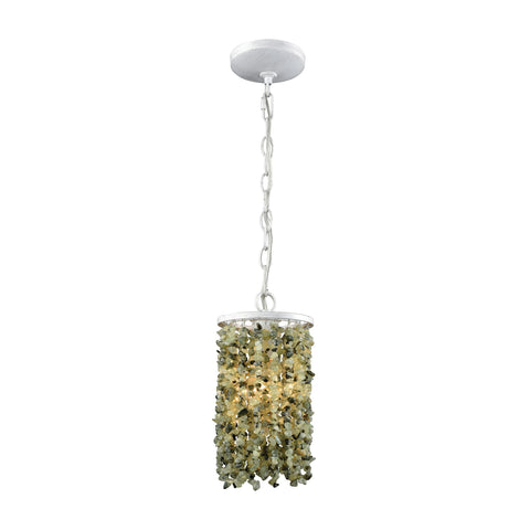 Agate Stones 1 Light Pendant In Weathered Bronze With Light Jade Agate Stones - Includes Recessed Lighting Kit