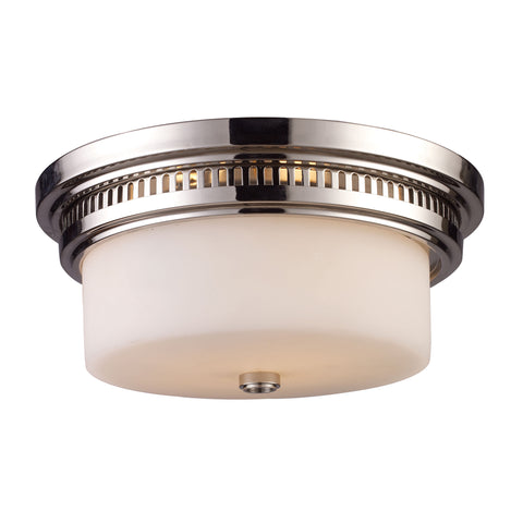 Chadwick 2 Light Flushmount In Polished Nickel And White Glass