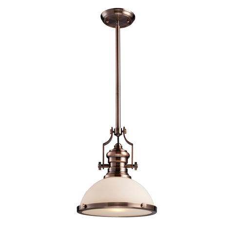 Chadwick 1 Light Pendant In Antique Copper And White Glass