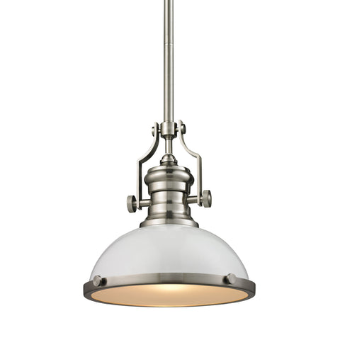 Chadwick 1 Light Pendant In Gloss White And Satin Nickel